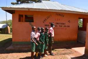 The Water Project: Itieng'ere Primary School -  Boys In Line At The Latrines