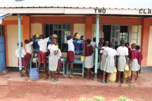 The Water Project: Muriola Primary School -  Filling The Lifestraw Containers