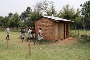 The Water Project: Muriola Primary School -  Girls Rushing To Their Latrines