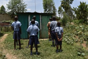 The Water Project: Ebukuya Special School for the Deaf -  Boys Lined Up To Use Latrines