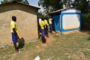 The Water Project: Namushiya Primary School -  Boys Lined Up To Use Latrines