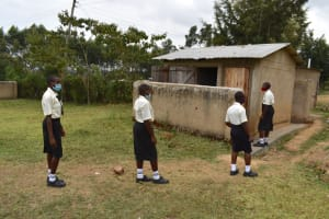 The Water Project: Salvation Army Matioli Secondary School -  Girls Lined Up At Latrines