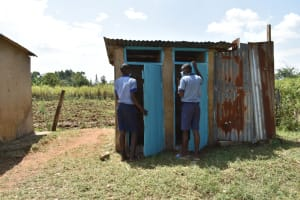 The Water Project: St. Elizabeth Shipala Primary School -  Students Lined Up To Use Latrines