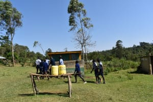 The Water Project: St. Kizito Shihingo Primary School -  Boys Lined Up At The Latrine
