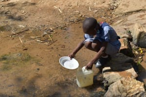 The Water Project: St. Kizito Shihingo Primary School -  Fetching Water From The Stream