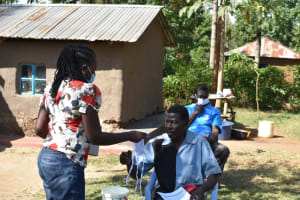 The Water Project: Maraba Community, Shisia Spring -  Super Active Participants Awarded With Masks