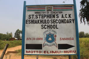The Water Project: St. Stephens ACK Eshiakhulo Secondary School -  Sign