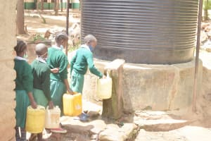 The Water Project: Kitondo Primary School -  Students Fill Up At The Small Tank