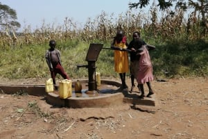 The Water Project: Rwensororo Community -  Children Work Together To Fetch Water From Old Well