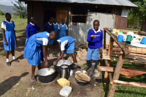 The Water Project: Tande Primary School -  Using Water To Wash Utensils
