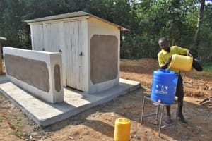 The Water Project: Jimarani Primary School -  Filling A Handwashing Station With Water