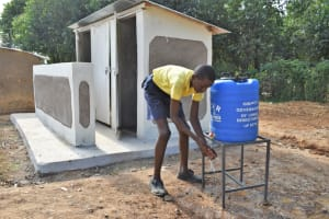 The Water Project: Jimarani Primary School -  Washing Hands Outside The Latrines