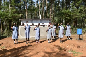 The Water Project: St. Martin's Primary School -  Girls Pose At Their Vip Latrines