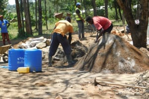 The Water Project: St. Martin's Primary School -  Mixing Cement