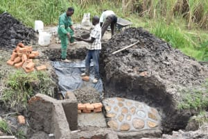The Water Project: Mabanga Community, Ashuma Spring -  Building The Stairs