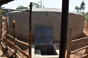 The Water Project: Kitambazi Primary School -  Completed Rain Tank Wtih Water Flowing