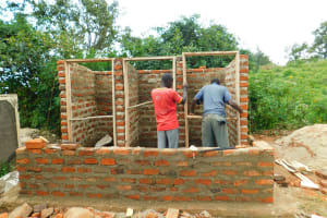 The Water Project: Ibokolo Primary School -  Framing The Latrines