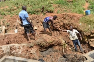 The Water Project: Mushikulu B Community, Olando Spring -  Backfilling With Clay