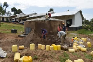 The Water Project: Friends Mixed Secondary School Lwombei -  Mixing Cement For The Dome