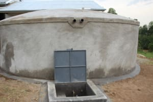 The Water Project: Friends Mixed Secondary School Lwombei -  Complete Rain Tank With Water Flowing