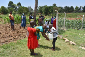 The Water Project: Isanjiro Community, Musambai Spring -  Handwashing Demonstration