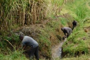 The Water Project: Mukoko Community, Zebedayo Mutsotsi Spring -  Opening The Drainage