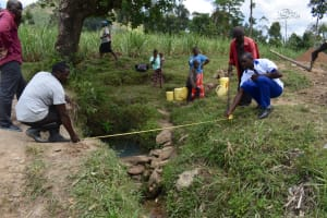 The Water Project: Mukhuyu Community, Gideon Kakai Chelagat Spring -  Spring Site Measurement