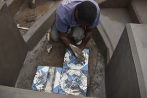 The Water Project: Mukhuyu Community, Gideon Kakai Chelagat Spring -  Setting The Tiles
