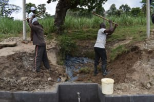 The Water Project: Mukhuyu Community, Gideon Kakai Chelagat Spring -  Backfilling With Soil