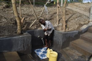 The Water Project: Mukhuyu Community, Gideon Kakai Chelagat Spring -  A Boy Celebrating At The Spring