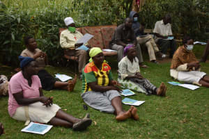 The Water Project: Mukhuyu Community, Gideon Kakai Chelagat Spring -  Practicing Handwashing Steps