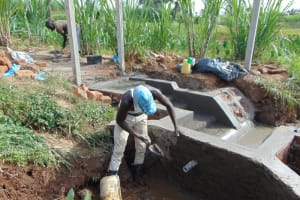 The Water Project: Shihome Community, Oloo Njinuli Spring -  Inside Plastering