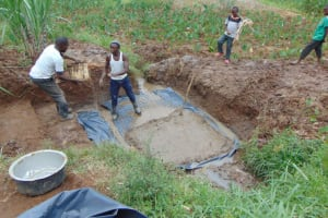 The Water Project: Shihome Community, Oloo Njinuli Spring -  Setting The Foundation