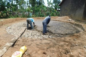 The Water Project: St. Martin's Primary School -  Laying Rain Tank Foundation
