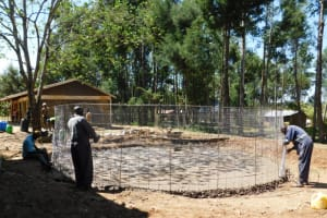 The Water Project: St. Martin's Primary School -  Setting Wire Wall Reinforcement