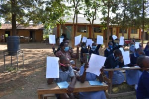 The Water Project: St. Martin's Primary School -  Showing Their Drawings Of The Coronavirus
