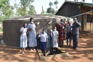The Water Project: St. Martin's Primary School -  Teachers And Pupils At The Rain Tank