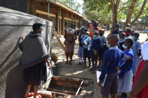 The Water Project: St. Martin's Primary School -  Teaching Rain Tank Parts And Functions