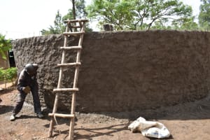 The Water Project: Jimarani Primary School -  Plastering The Outer Wall