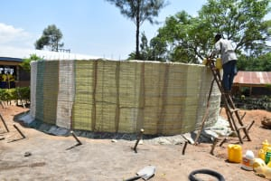 The Water Project: Jimarani Primary School -  Sugarsacks In Place Ready For Plastering
