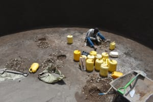 The Water Project: Jimarani Primary School -  Digging Holes For Erecting The Pillars