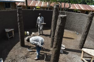 The Water Project: Jimarani Primary School -  Plastering The Pillars