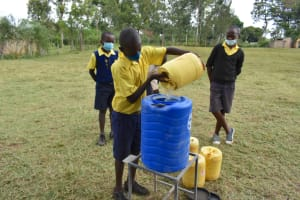 The Water Project: Jimarani Primary School -  Filling Handwashing Station With Water