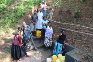 The Water Project: Emutetemo Community, Lubale Spring -  Water Users Of Lubale Spring Cheering With Joy