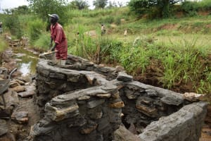 The Water Project: Mathanguni Community A -  Well Walls Underway