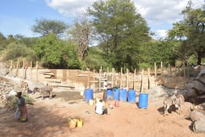 The Water Project: Thona Community -  Dam Walls Continue To Build