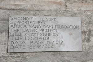 The Water Project: Thona Community -  Sand Dam Plaque