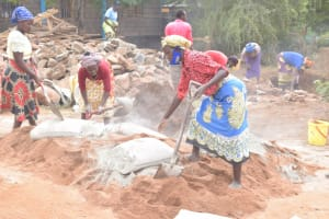 The Water Project: Kalatine Primary School -  Mixing Cement