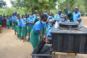 The Water Project: Kalatine Primary School -  Students Washing Their Hands