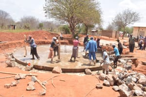 The Water Project: Mang'uu Primary School -  Cement Work On The Foundation